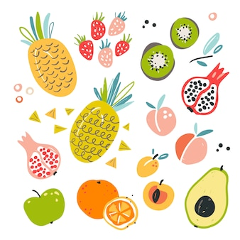 Dibujado a mano ilustración de diversos ingredientes de frutas.