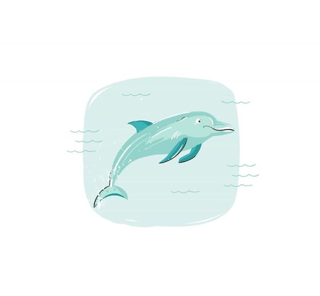 Dibujado a mano ilustración divertida del horario de verano de coon con delfines saltando en las olas del océano azul sobre fondo blanco