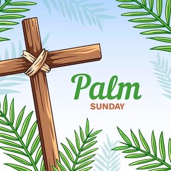 Dibujado a mano ilustración de domingo de ramos