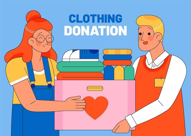 Dibujado a mano ilustración de donación de ropa