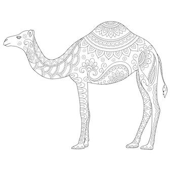 Dibujado a mano ilustración doodle animal estilizado - camello. página para colorear.