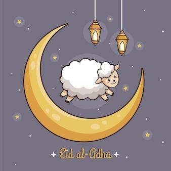 Dibujado a mano ilustración de eid al-adha