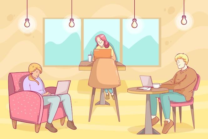 Dibujado a mano ilustración de espacio de coworking