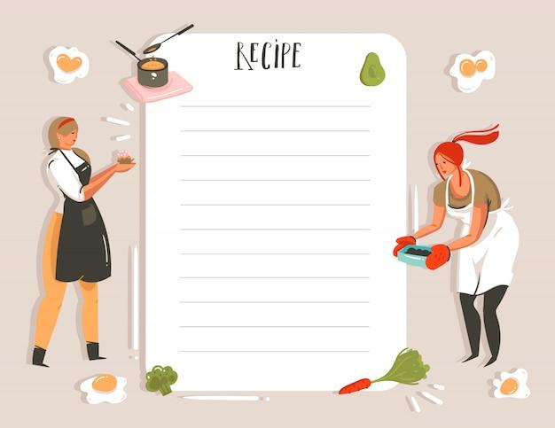 Dibujado a mano ilustración de estudio de cocina receta tarjeta planificador templete con chicas aisladas sobre fondo blanco.