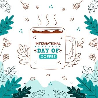Dibujado a mano ilustración del evento del día internacional del café