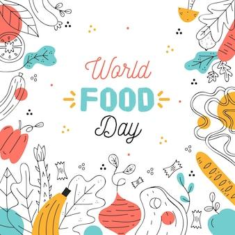 Dibujado a mano ilustración de evento del día mundial de la alimentación