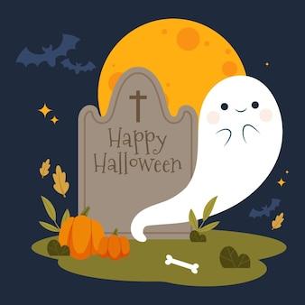 Dibujado a mano ilustración de fantasma de halloween plana