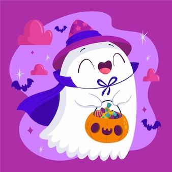 Dibujado a mano ilustración de fantasma de halloween plana vector gratuito