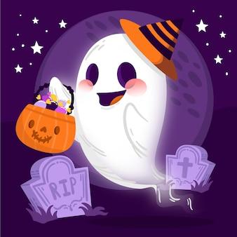 Dibujado a mano ilustración de fantasma de halloween