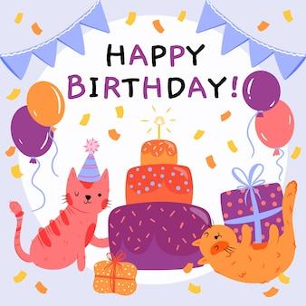 Dibujado a mano ilustración de feliz cumpleaños