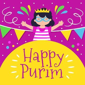 Dibujado a mano ilustración feliz día de purim con chica celebrando
