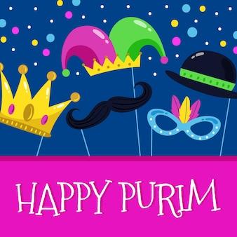 Dibujado a mano ilustración feliz día de purim con diferentes elementos