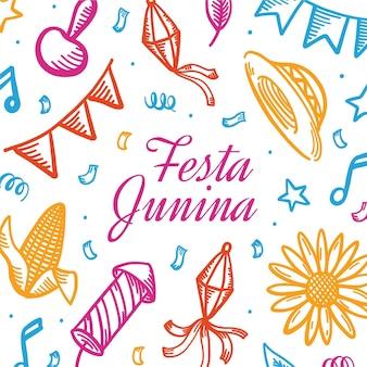 Dibujado a mano ilustración festa junina
