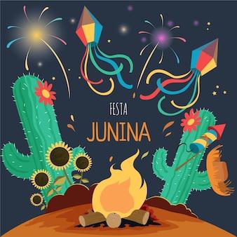 Dibujado a mano ilustración de festa junina