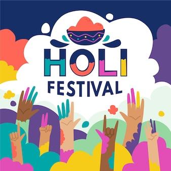 Dibujado a mano ilustración del festival holi