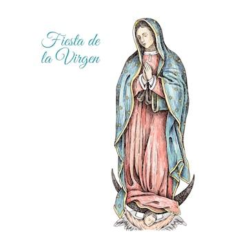 Dibujado a mano ilustración fiesta de la virgen