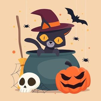 Dibujado a mano ilustración de gato de halloween plano vector gratuito