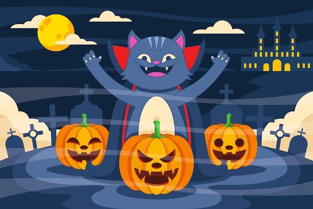 Dibujado a mano ilustración de gato de halloween plano