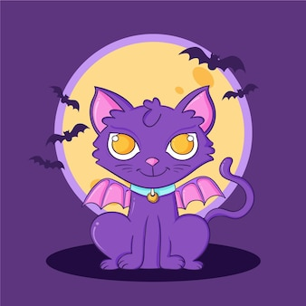 Dibujado a mano ilustración de gato de halloween