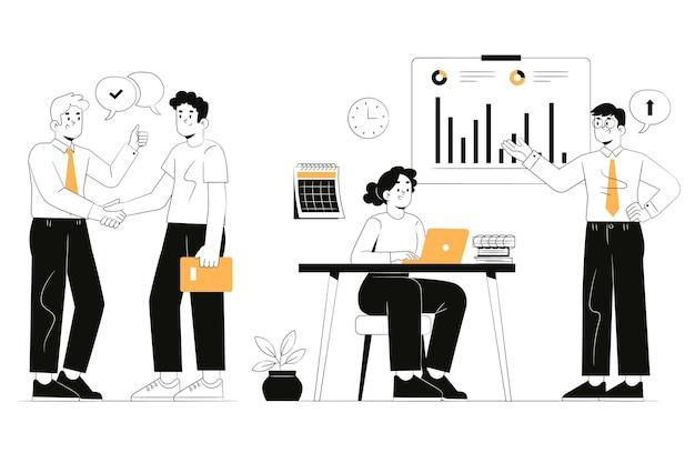 Dibujado a mano ilustración de gente de negocios