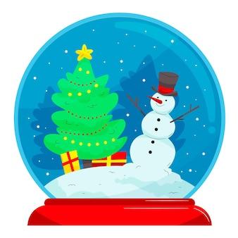 Dibujado a mano ilustración de globo de bola de nieve de navidad