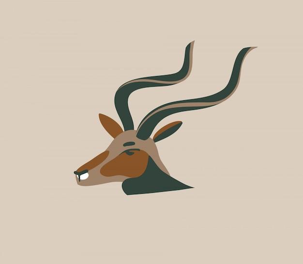 Dibujado a mano ilustración gráfica abstracta con animales de dibujos animados de cabeza de antílope salvaje en el fondo