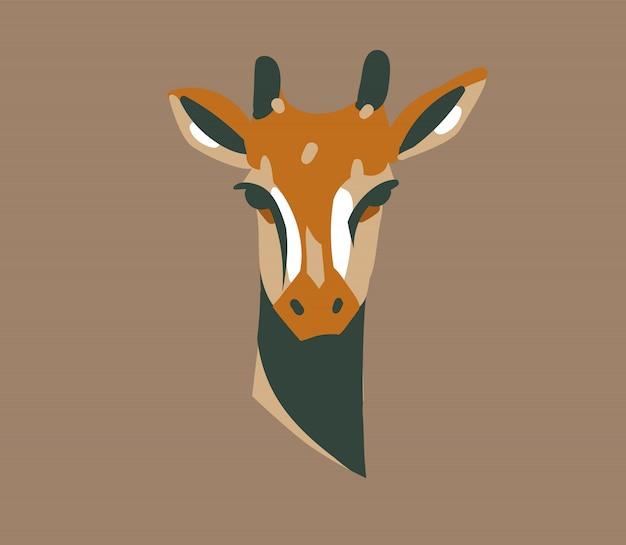 Dibujado a mano ilustración gráfica abstracta con animales de dibujos animados de cabeza de jirafa salvaje en el fondo
