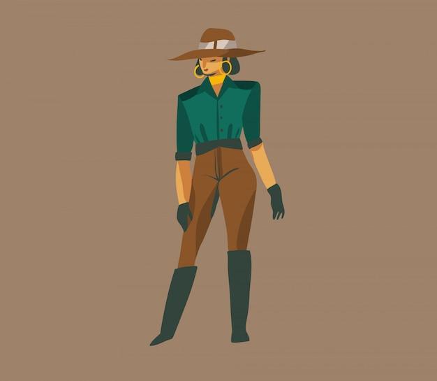 Dibujado a mano ilustración gráfica abstracta con una chica con sombrero en un safari salvaje en el fondo