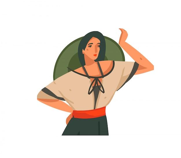 Dibujado a mano ilustración gráfica abstracta con una chica con sombrero y uniforme en un safari salvaje sobre fondo blanco.