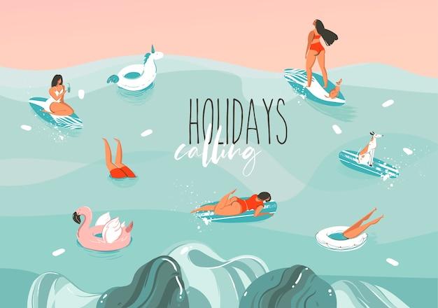 Dibujado a mano ilustración gráfica abstracta común con un divertido grupo de personas de la familia para tomar el sol en el paisaje de las olas del mar, nadar y surfear aislado sobre fondo de color.