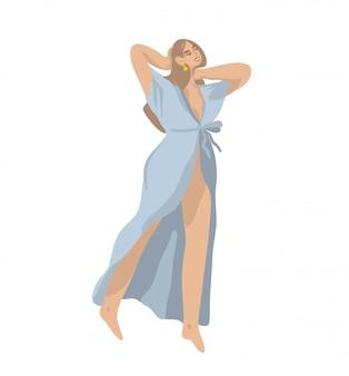Dibujado a mano ilustración gráfica abstracta de dibujos animados con carácter de mujer joven, en una bata de baño sobre fondo blanco.