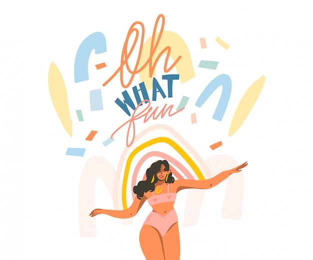 Dibujado a mano ilustración gráfica abstracta con feliz femenino y escrito a mano positivo oh, qué divertido citar texto y collage formas aisladas sobre fondo blanco