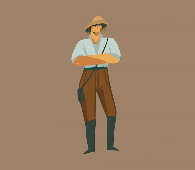 Dibujado a mano ilustración gráfica abstracta con un hombre en uniforme en safari en el fondo