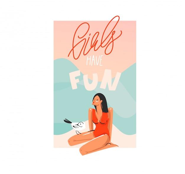 Dibujado a mano ilustración gráfica abstracta con joven feliz, mujer de belleza en bikini sentada en la playa y ave gaviota sobre fondo de color blanco.