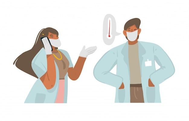 Dibujado a mano ilustración gráfica abstracta con médicos que hablan por teléfono, con pacientes con fiebre alta y dan recomendaciones sobre fondo blanco.