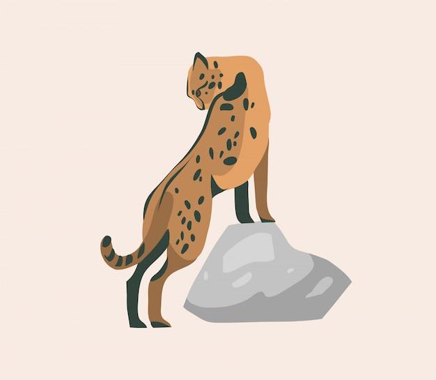 Dibujado a mano ilustración gráfica abstracta stock con animales de dibujos animados de guepardo sentado salvaje en el fondo