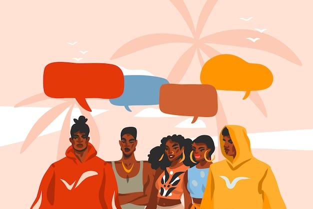 Dibujado a mano ilustración gráfica plana abstracta con grupo de personas de belleza afroamericana joven, negra en traje de moda en la escena de la vista del atardecer en la playa aislada sobre fondo rosa pastel.