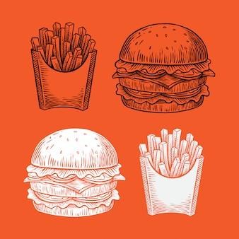 Dibujado a mano ilustración de hamburguesas y papas fritas