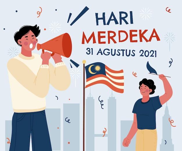 Dibujado a mano ilustración de hari merdeka