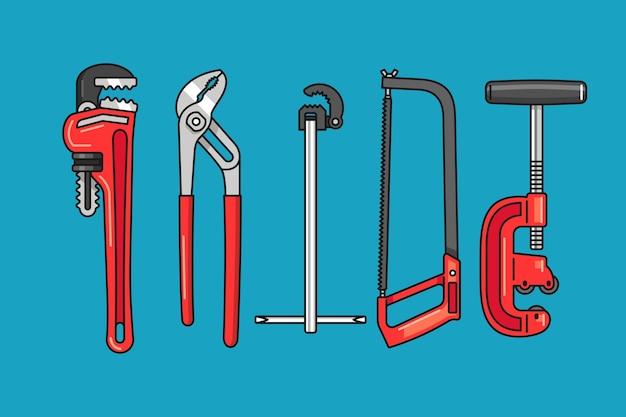 Dibujado a mano ilustración de herramientas de fontanero
