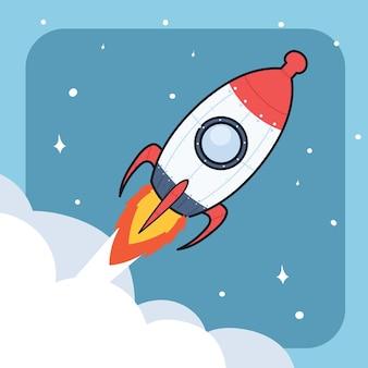 Dibujado a mano ilustración de icono de cohete espacial.