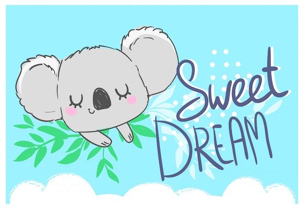 Dibujado a mano ilustración infantil lindo koala.