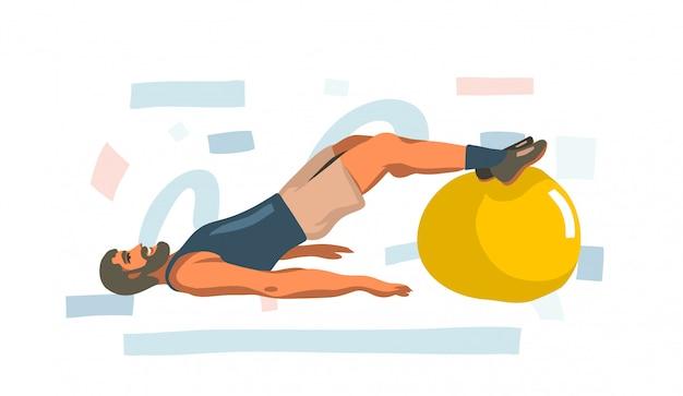Dibujado a mano ilustración con joven feliz entrenamiento masculino en casa con pelota de fitness sobre fondo blanco.