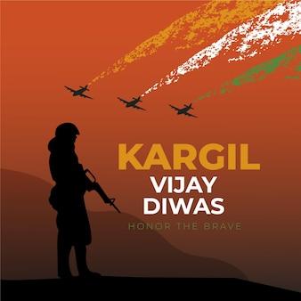 Dibujado a mano ilustración de kargil vijay diwas
