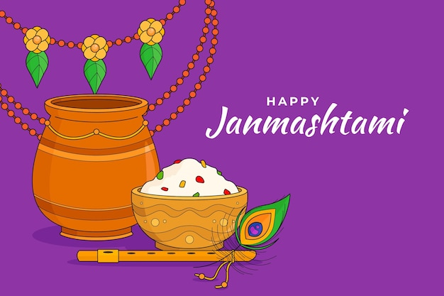 Dibujado a mano ilustración de krishna janmashtami