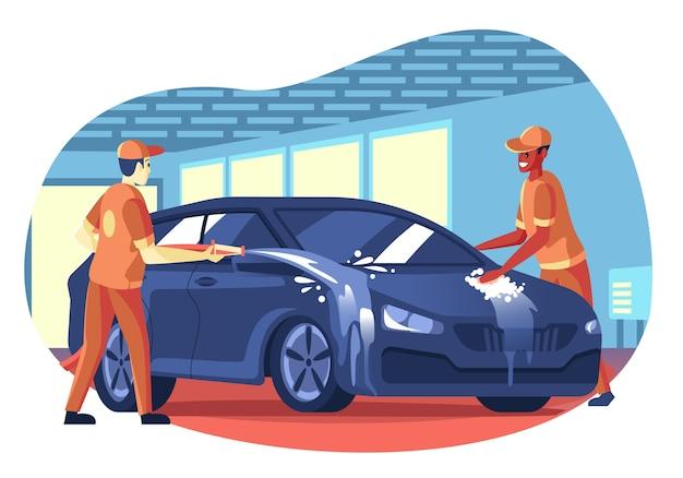Dibujado a mano ilustración de lavado de autos