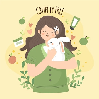 Dibujado a mano ilustración libre de crueldad y vegana con mujer sosteniendo conejito
