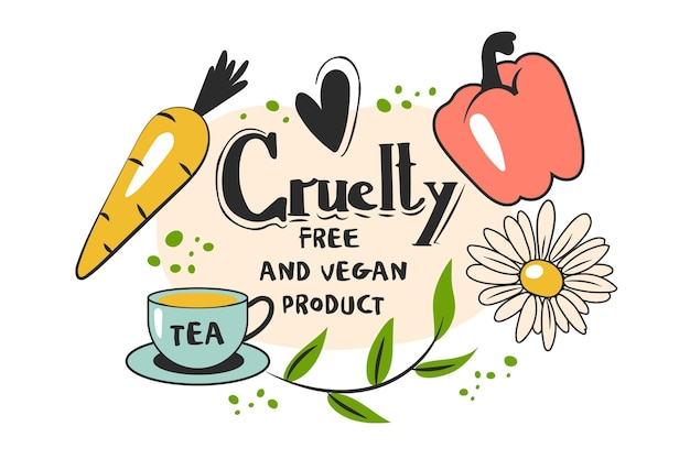 Dibujado a mano ilustración libre de crueldad y vegana