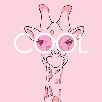 Dibujado a mano ilustración linda jirafa