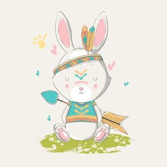 Dibujado a mano ilustración de un lindo bebé conejito boho con plumas.